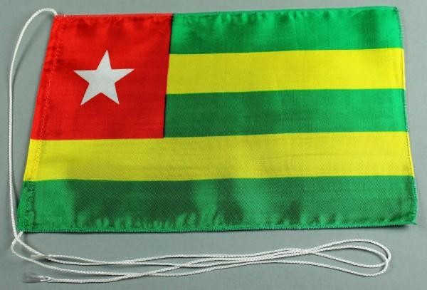Tischflagge Togo 25x15 cm optional mit Holz- oder Chromständer Tischfahne Tischfähnchen