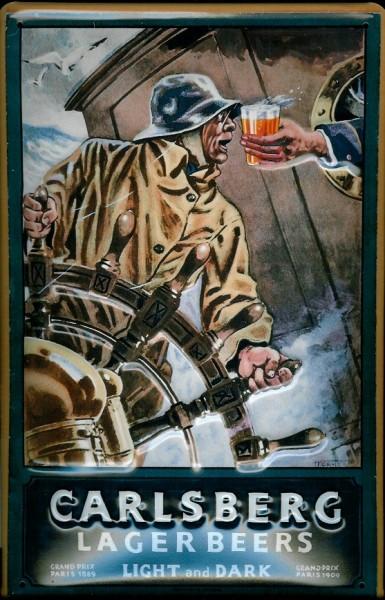 Blechschild Carlsberg Lager Beer Seemann Bier Schiff nostalgisches Schild Werbeschild