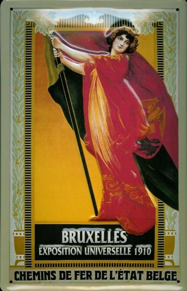 Blechschild Nostalgieschild Bruxelles Exposition Universelle 1910 Weltausstellung Brüssel
