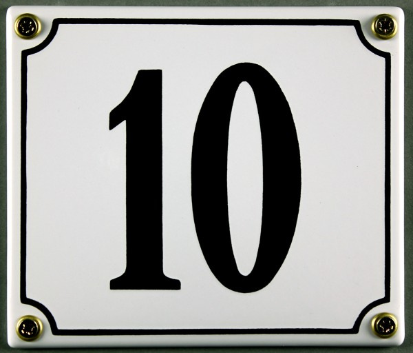 Hausnummernschild 10 weiß 12x14 cm sofort lieferbar Schild Emaille Hausnummer Haus Nummer Zahl Ziffe