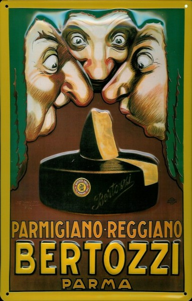 Blechschild Bertozzi Parma Käse Parmigiano Italien Schild Nostalgieschild
