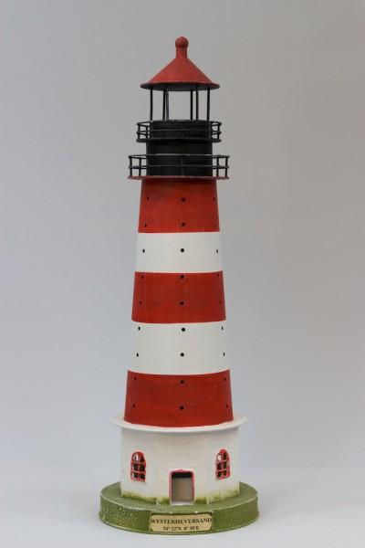 Blechleuchtturm Westerheversand 42,5 cm Leuchtturm Modell mit Teelichthalter