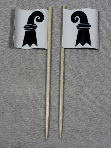 Party-Picker Flagge Basel Kanton Schweiz Papierfähnchen in Spitzenqualität 50 Stück Beutel