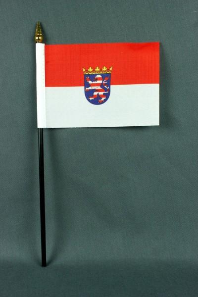 Kleine Tischflagge Hessen 10x15 cm optional mit Tischfähnchenständer