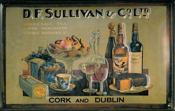 Blechschild D.F. Sullivan Whisky Cork Dublin retro Schild Nostalgieschild