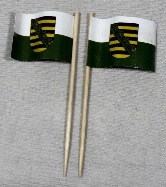 Party-Picker Flagge Sachsen Papierfähnchen in Spitzenqualität 50 Stück Beutel