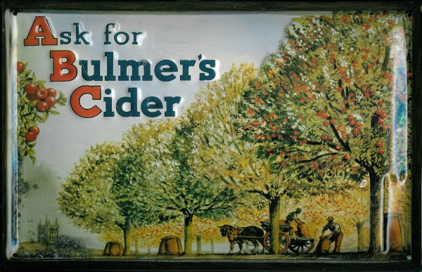 Blechschild Bulmer s Cider Pferdekarre Pferd retro Schild Nostalgieschild