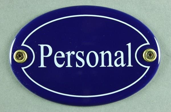 Emaille Türschild Personal blau oval Schild Emailleschild Metallschild Blechschild