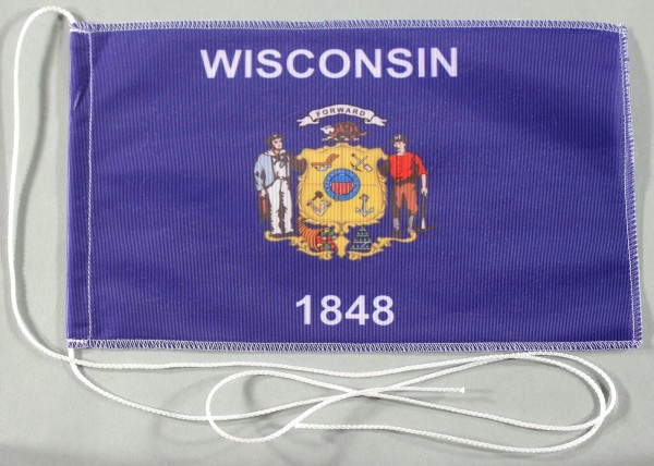 Tischflagge Wisconsin USA Bundesstaat US State optional mit Holz- oder Chromständer Tischfahne Tisch