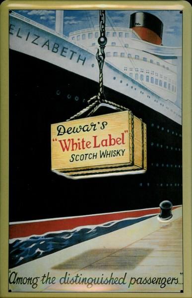 Blechschild Dewar's White Label Whisky Hafen Kiste Dampfer Schild
