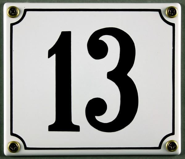 Hausnummernschild 13 weiß 12x14 cm sofort lieferbar Schild Emaille Hausnummer Haus Nummer Zahl Ziffe