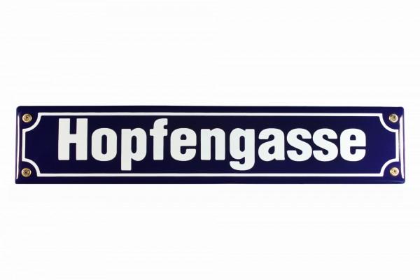 Strassenschild Hopfengasse 40x8 cm Emaille Schild Kneipenschild