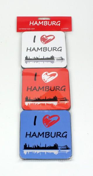 Hamburg Untersetzer Set Skyline 6-teilig