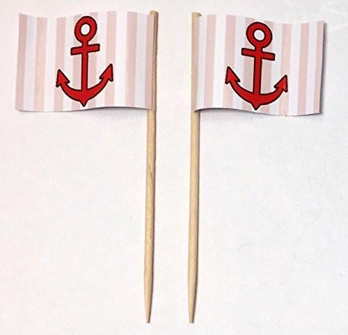 Party-Picker Flagge Anker rot/weiß Papierfähnchen in Spitzenqualität 50 Stück Beutel