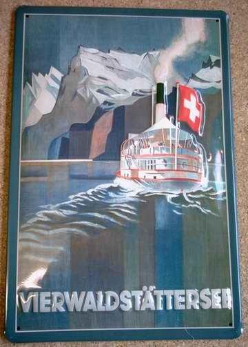 Blechschild Vierwaldstättersee Schweiz Dampfer Schiff Schild Nostalgieschild