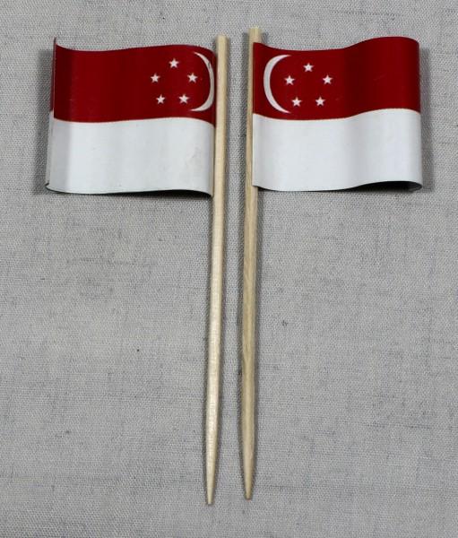 Party-Picker Flagge Singapur Papierfähnchen in Spitzenqualität 50 Stück Beutel