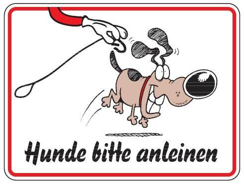 Aluminium Schild Hunde bitte anleinen Bild Hund 150x200 mm geprägt