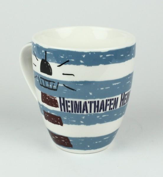 Maritimer Becher Heimathafen Leuchtturm Anker gestreift Tasse Kaffee Becher Andenken weiß blau