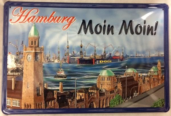 Blechschild Nostalgieschild Hamburg Moin Moin Landungsbrücken Hafen