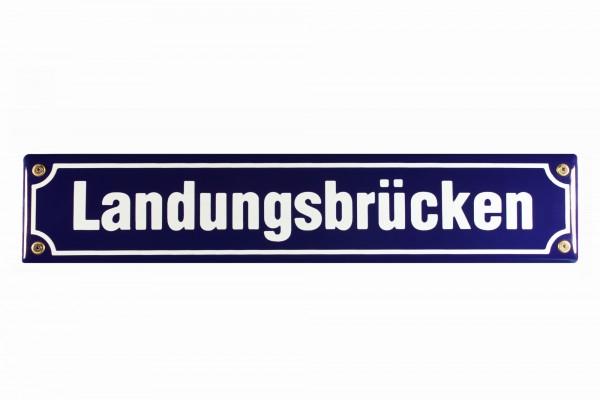 Strassenschild Landungsbrücken 40x8 cm Hamburg St. Pauli Email Strassen Schild Emaille