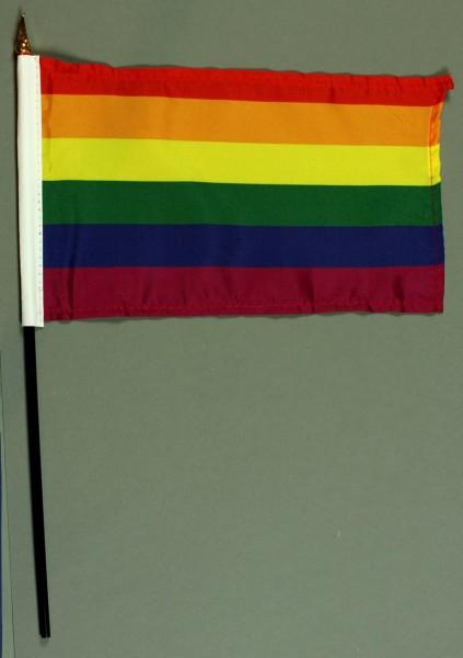 Tischflagge Regenbogen 15x25 cm BASIC optional mit Tischflaggenständer