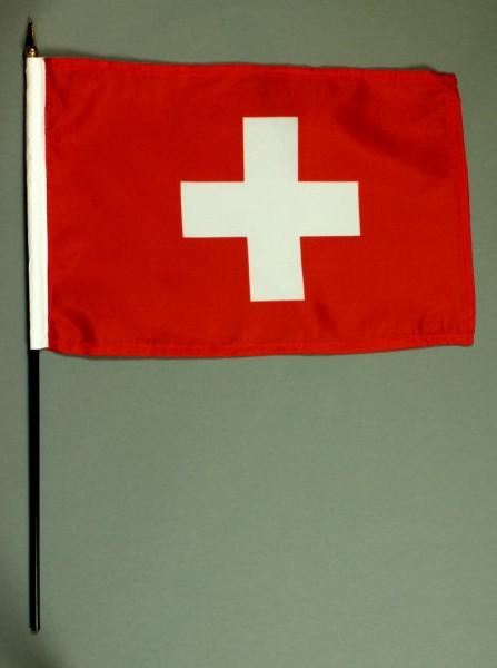 Tischflagge Schweiz 20x30 cm optional mit Tischflaggenständer aus Mahagoni Holz