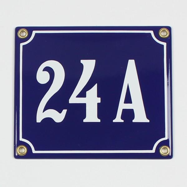 24 A blau Clarendon 14x12 cm sofort lieferbar Schild Emaille Hausnummer