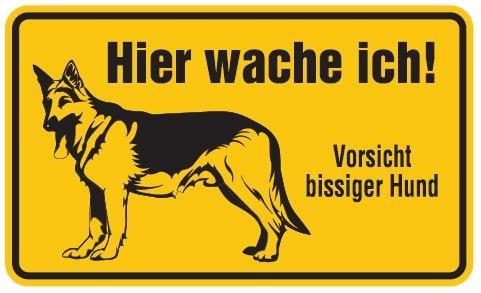 Aluminium Schild Vorsicht bissiger Hund Hier wache ich 120x200 mm geprägt
