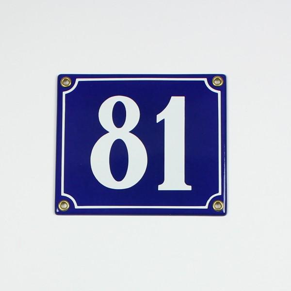 81 blau Clarendon 14x12 cm sofort lieferbar 2-stellig Schild Emaille Hausnummer
