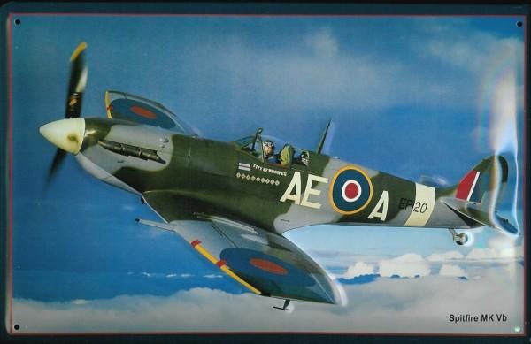 Blechschild Nostalgieschild Spitfire MK Vb Airforce Kampfflugzeug