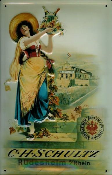 Blechschild C.H. Schultz Weinkellerei Rüdesheim Rhein Wein Nostalgie Schild
