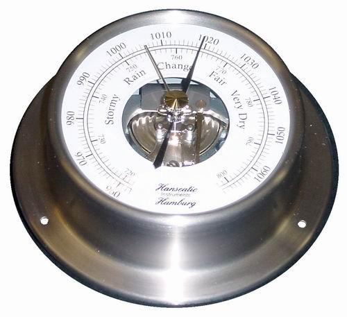 Schiffs Barometer 110 mm Edelstahl matt geschliffen