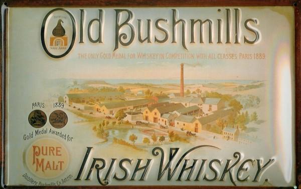 Blechschild Old Bushmills Irish Whiskey Fabrik Destillerie retro Schild Werbeschild