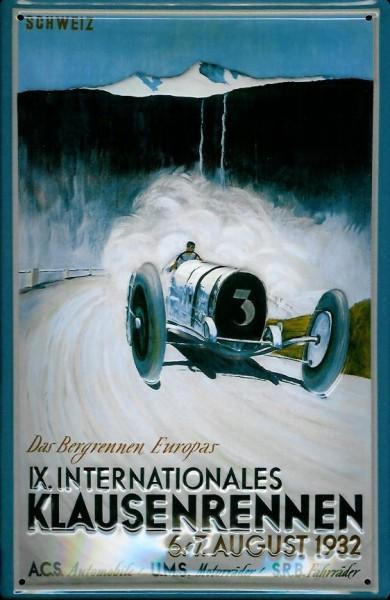 Blechschild Klausenrennen 1932 Rennwagen Autorennen Schild Werbeschild retro Nostalgieschild