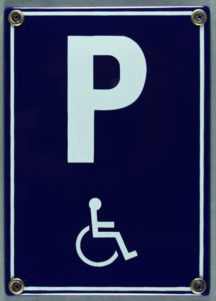 Emaille Schild Parkplatz Behinderte Behindertenparkplatz Rollstuhl Verkehrsschild Verkehrszeichen Em