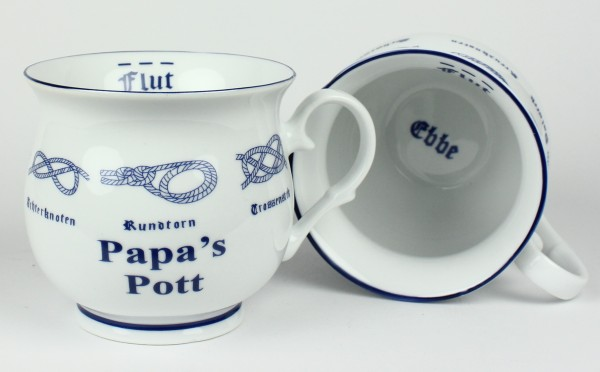 Papa´s Pott mit Seemannsknoten bauchig Kaffeebecher Kaffeetasse Kaffee Pott