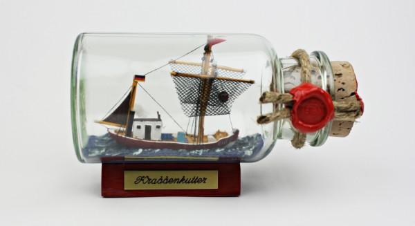 Krabbenkutter Nordsee rundes Gewürzglas 0,25 Liter Buddelschiff Flaschenschiff