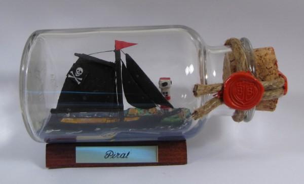Piratenschiff Pirat rundes Gewürzglas 0,25 Liter Buddelschiff Flaschenschiff