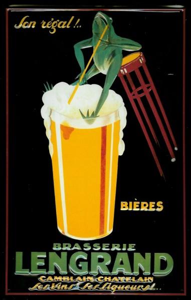 Blechschild Brasserie Lengrand Frosch Bierglas Schild retro Nostalgieschild