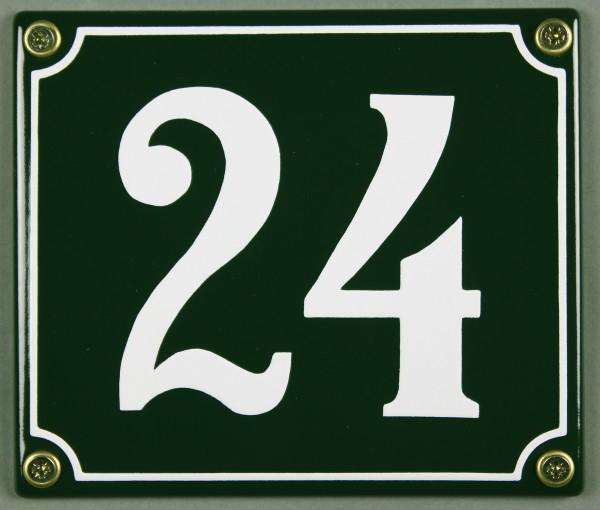 Hausnummernschild 24 grün 12x14 cm sofort lieferbar Schild Emaille Hausnummer Haus Nummer Zahl Ziffe