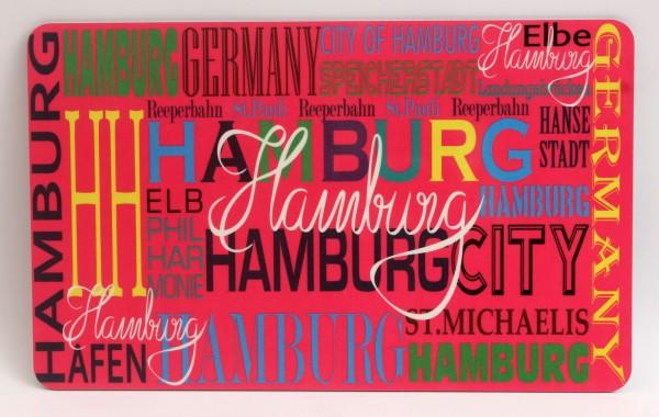 Frühstücksbrett Hamburg pink Brettchen Frühstück Brett 23,5 x 14,3 x 0,2 cm