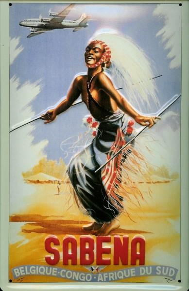 Blechschild Nostalgieschild Sabena Airline Belgien Kongo Congo