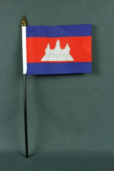 Kleine Tischflagge Kambodscha 10x15 cm optional mit Tischfähnchenständer