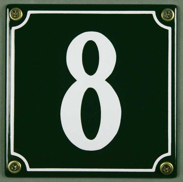Hausnummernschild 8 grün 12x12 cm sofort lieferbar Schild Emaille Hausnummer Haus Nummer Zahl Ziffer