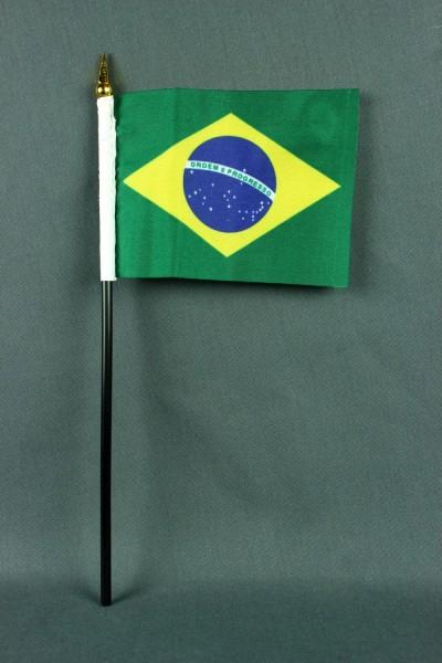 Kleine Tischflagge Brasilien 10x15 cm optional mit Tischfähnchenständer