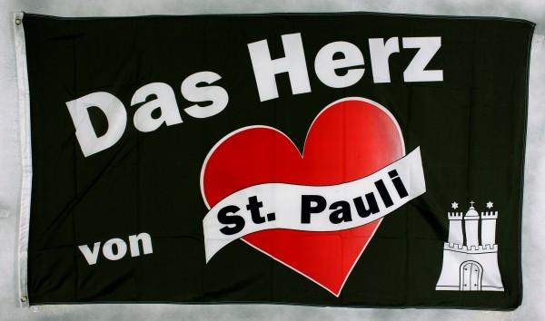 Flagge Fahne Das Herz von St. Pauli