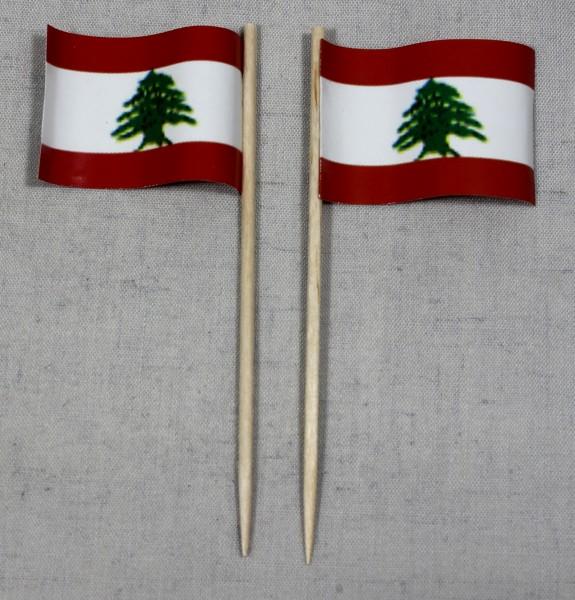 Party-Picker Flagge Libanon Papierfähnchen in Spitzenqualität 50 Stück Beutel