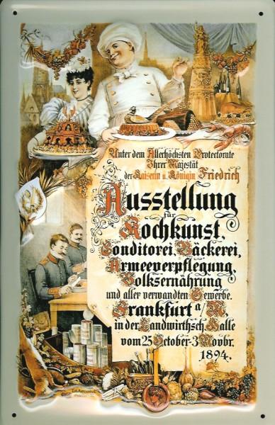Blechschild Kochkunst Ausstellung Frankfurt 1894 Volksernährung Schild