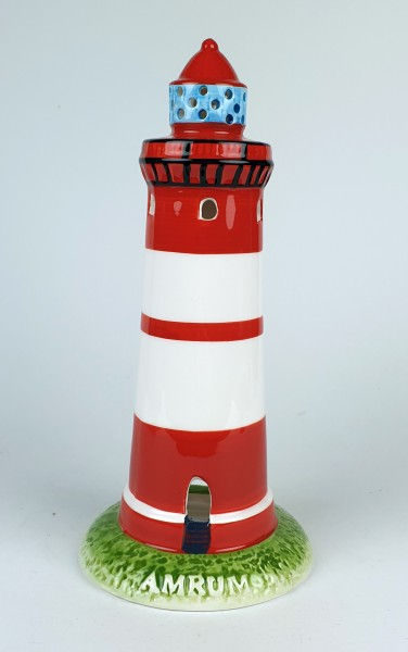 Leuchtturm Modell Amrum 20,5cm mit Teelichthalter Keramik Leuchtturmmodell