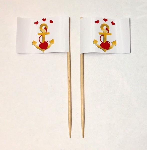 Party-Picker Flagge Anker Gold Herz Valentinstag maritime Hochzeit Papierfähnchen in Spitzenqualität